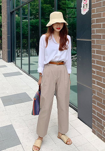 cotton pintuck pants